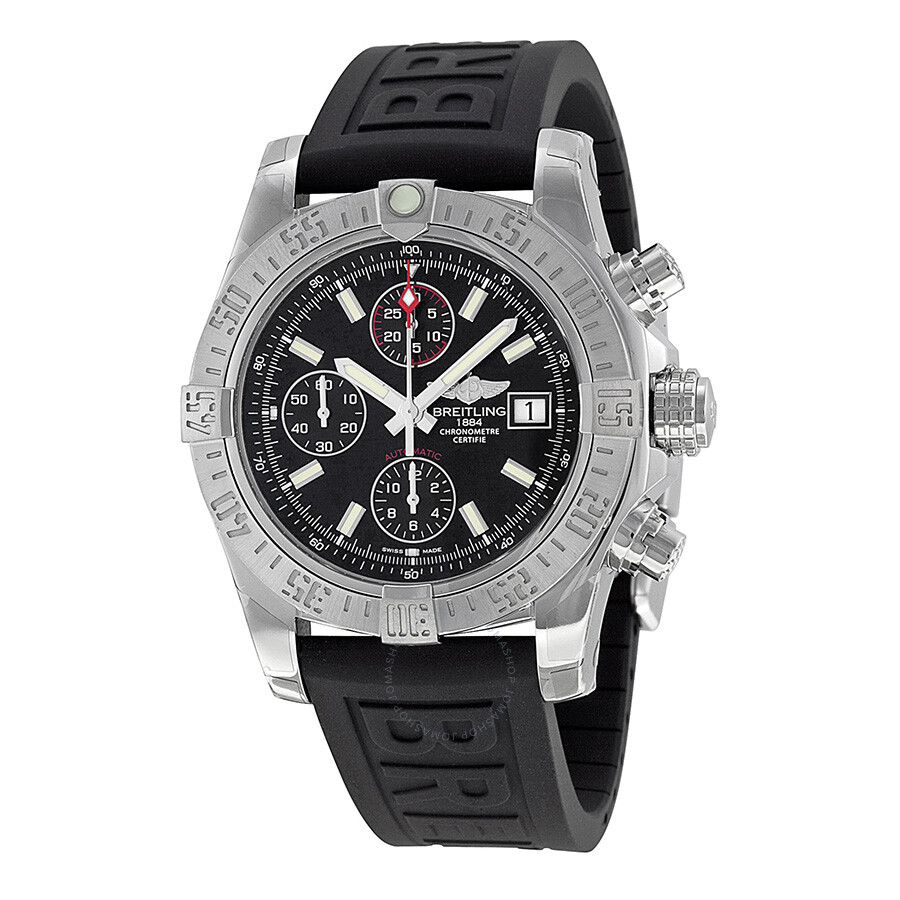 Breitling avenger ii black dial chronograph black rubber automatic men 39 s watch a1338111 for Avenger watches