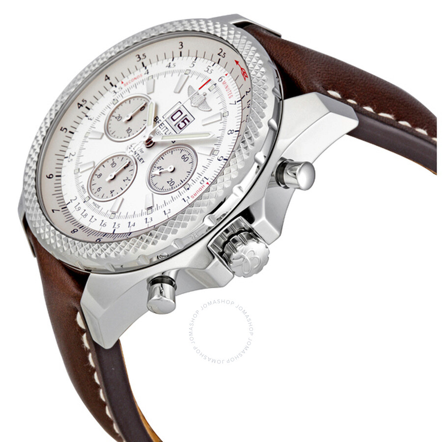 Breitling Bentley 6.75 Silver Stainless Steel Leather