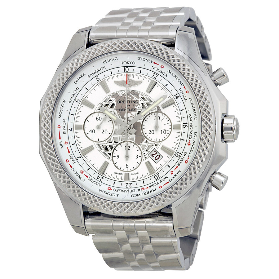 swisswatchexpo dial silver gmt watch breitling mens papers watches chronograph box bentley f