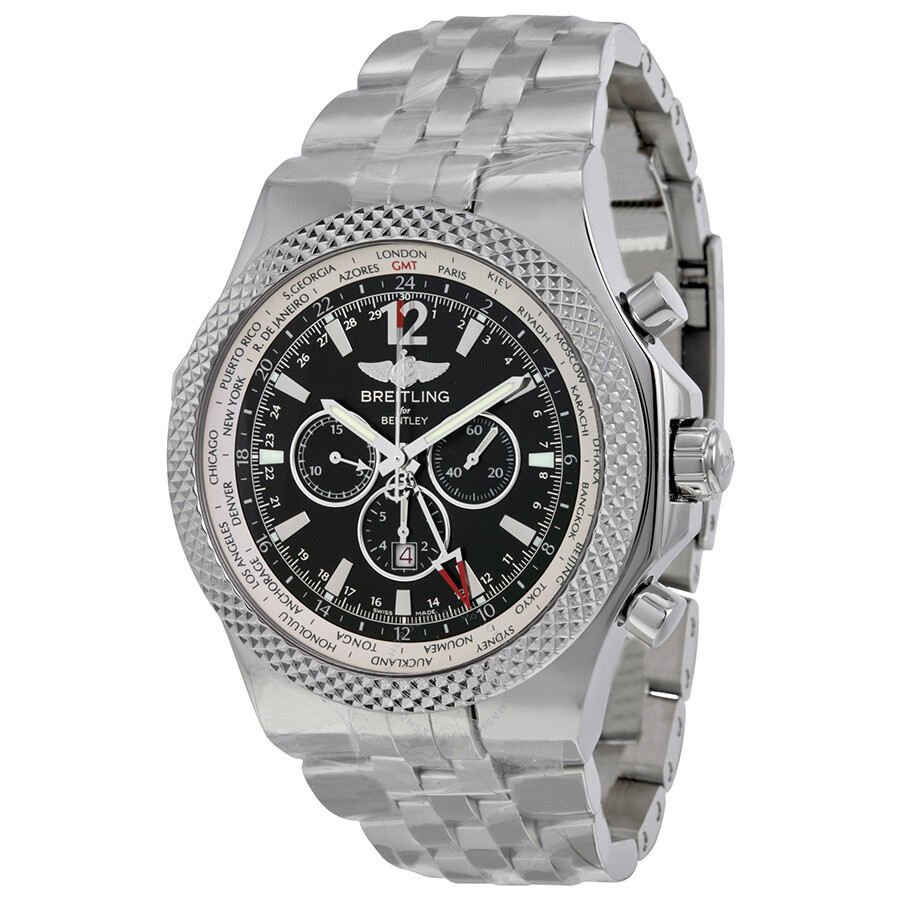 img breitling black chronograph steel stainless gt bentley