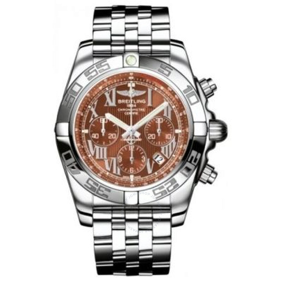 Breitling Chronomat 44 Amber Dial Stainless Steel Automatic Mens Watch AB011..