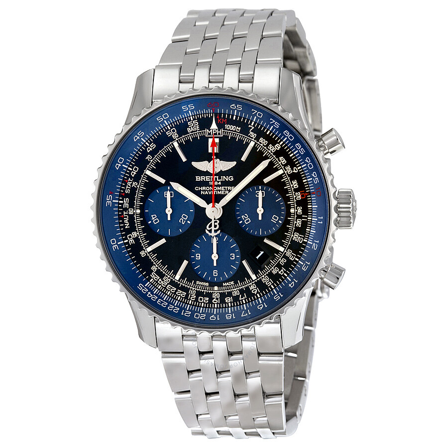 Breitling Navitimer 01 Limited Blue Edition Stainless Steel Mens Watch AB012116/BE09SS