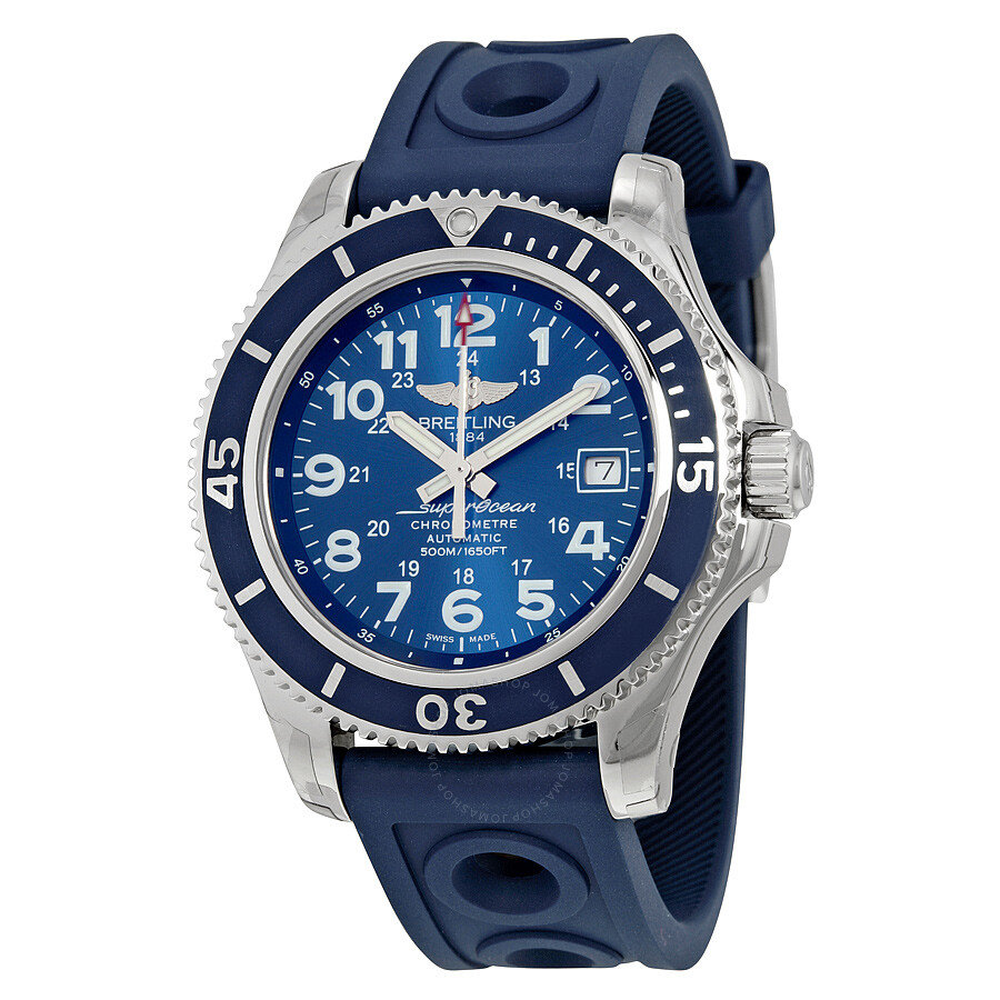 Breitling For Bentley Rubber Strap: Breitling Superocean II 42 Automatic Blue Dial Blue Rubber