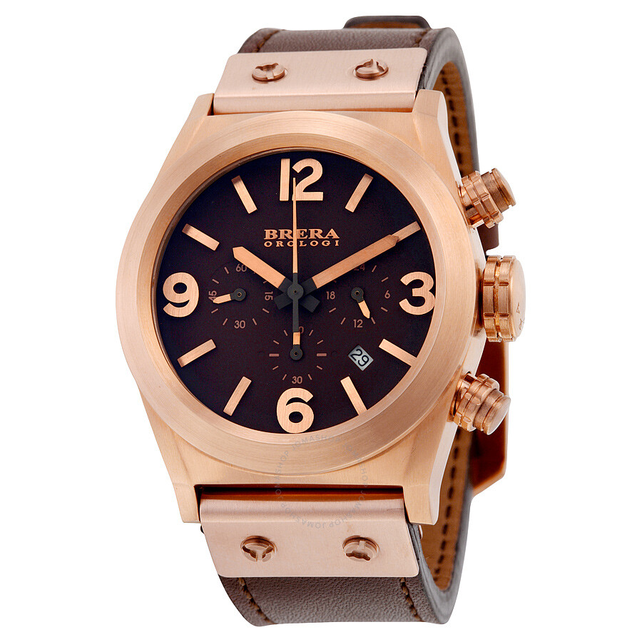 Brera Orologi Eterno Piccolo Chronograph Brown Enamel Dial Brown Leather Mens Watch BRET2C3814