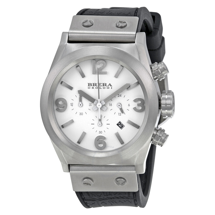 Brera Orologi Eterno Piccolo Chronograph White Dial Black Rubber Mens Watch BRET2C3881