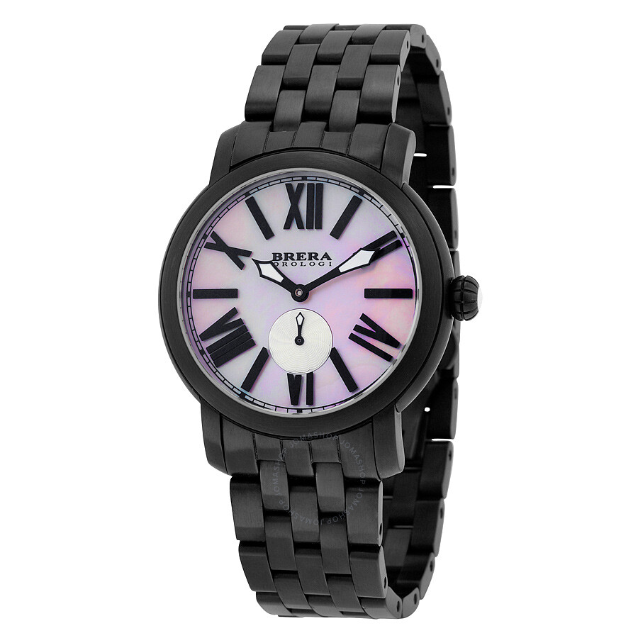 Brera Orologi Valentina Pink Mother of Pearl Dial Black Ion-plated Watch BWVA14304