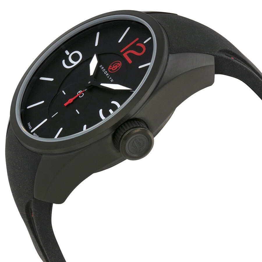 Brooklyn Watch Co. Lafayette Black Dial Black Red Stitching Rubber Strap Swiss Quartz Men's Watch