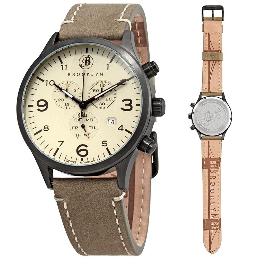 Brooklyn Watch Co. Bedford Brownstone Chronograph Cream Dial Men\'s ...