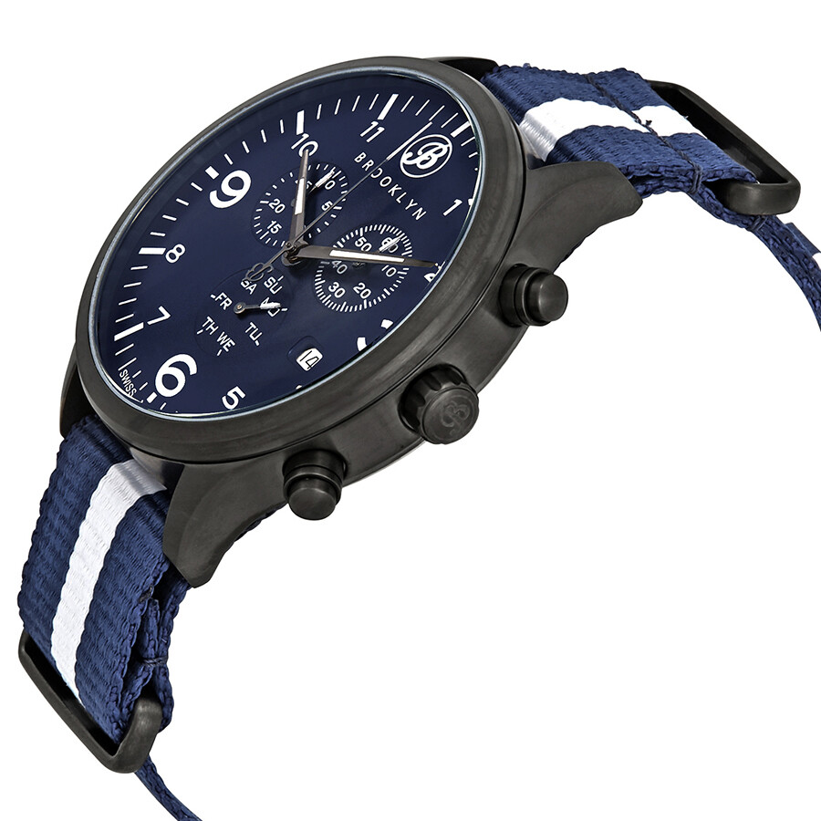Brooklyn Watch Co. Bedford Brownstone Chronograph Blue Dial Men\'s ...