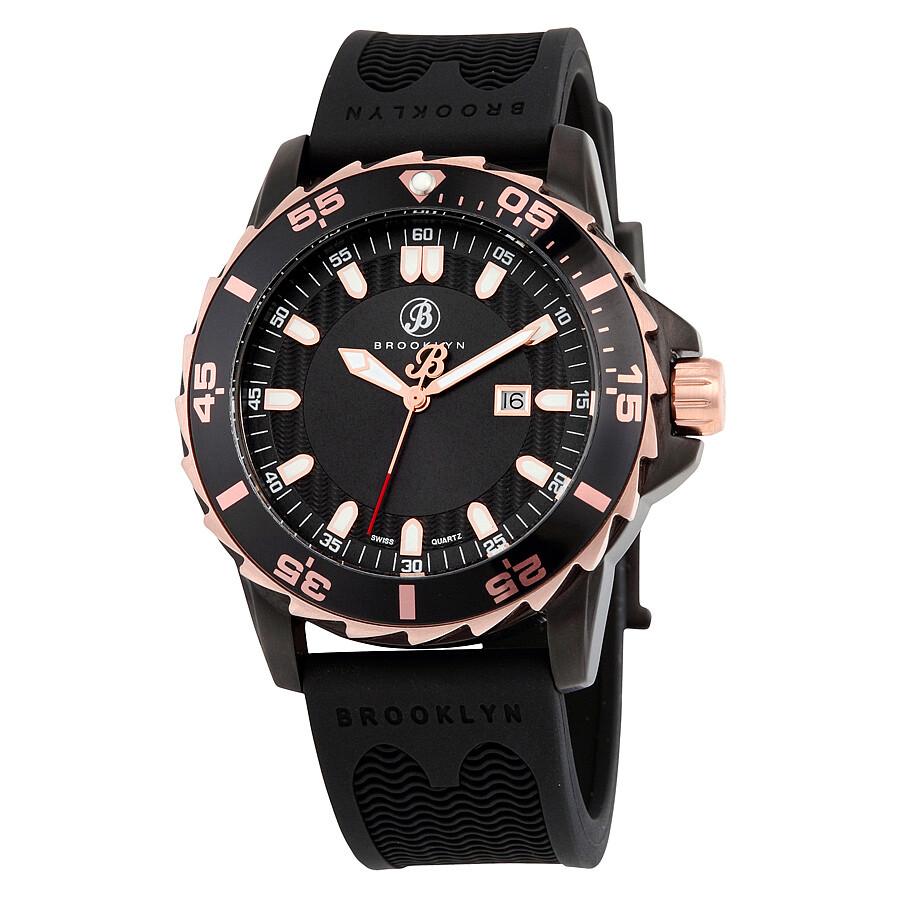 Brooklyn Waterbury Sports Diver Black Swiss Quartz Watch