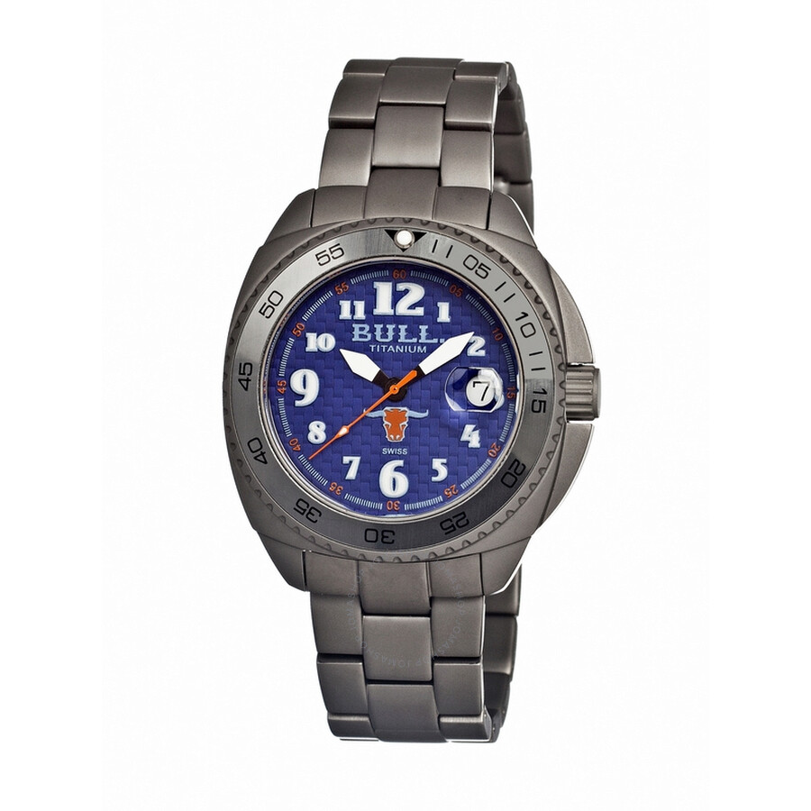 Bull Titanium Matador Blue Carbon Fiber Dial Satin-Finish Grey Titanium Mens..