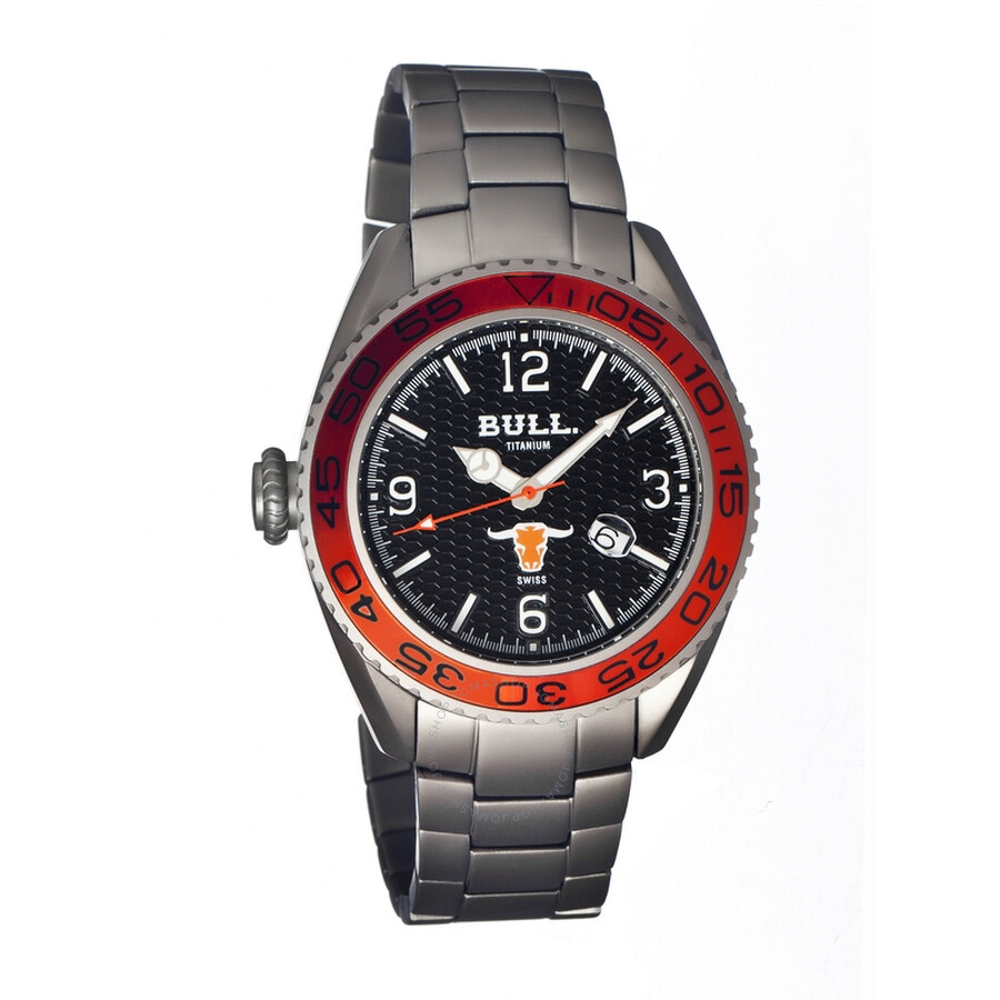 Bull Titanium Hereford Black Dial Silver Titanium Mens Watch HR002