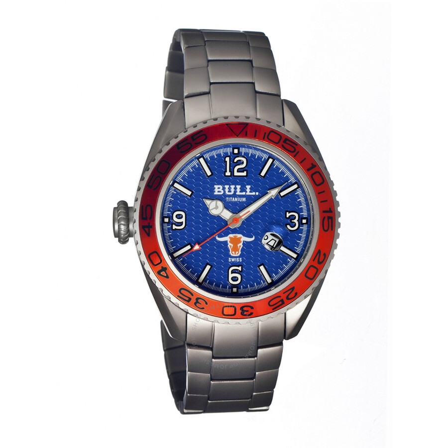 Bull Titanium Hereford Blue Dial Silver Titanium Mens Watch HR004
