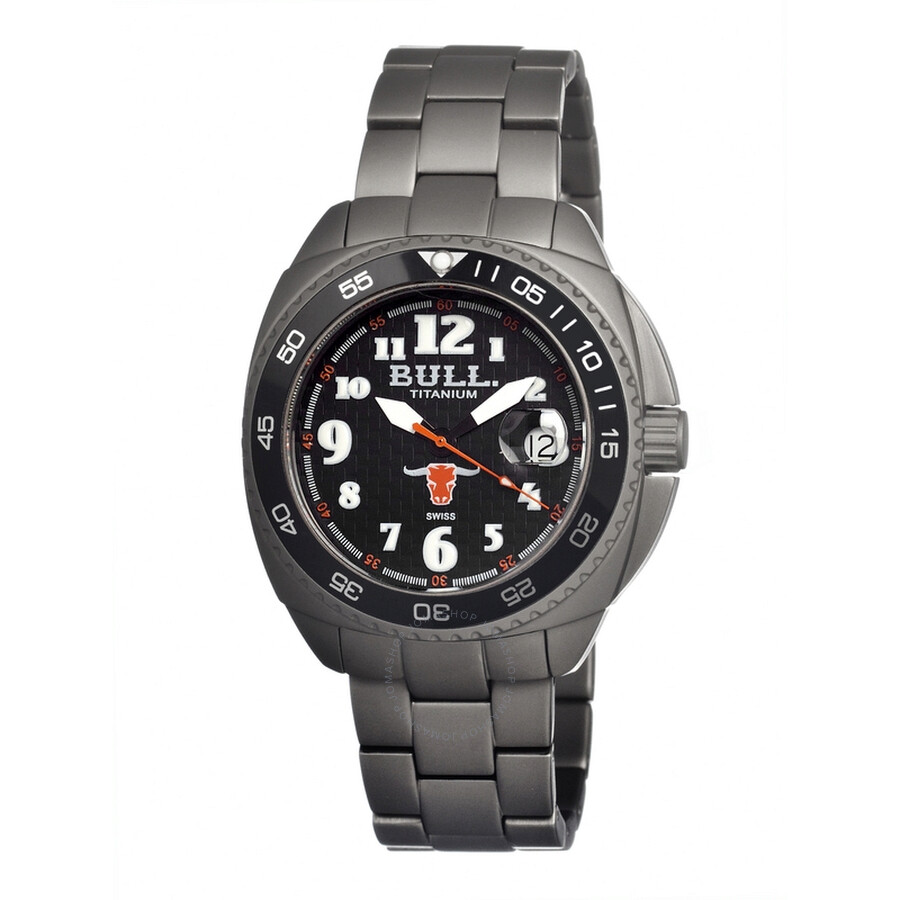 Bull Titanium Matador Black Dial Grey Titanium Mens Watch MD002