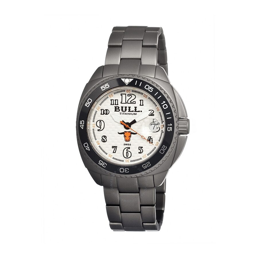 Bull Titanium Matador White Dial Grey Titanium Mens Watch MD001