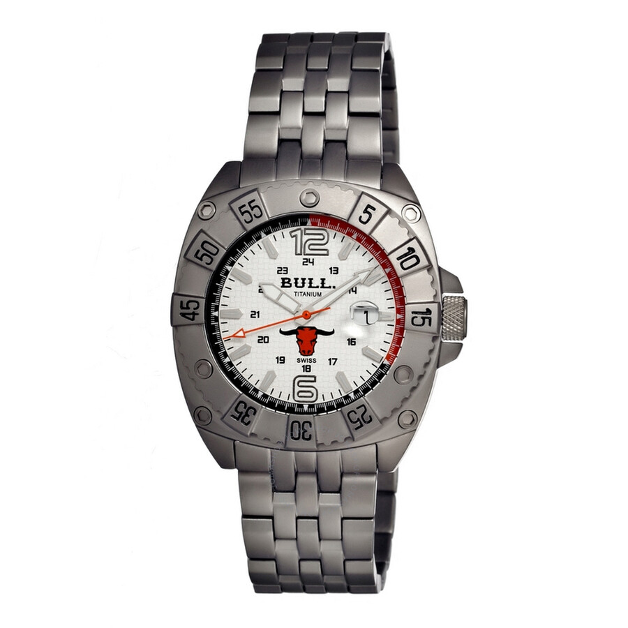 Bull Titanium Robust White Dial Grey Titanium Mens Watch RO001