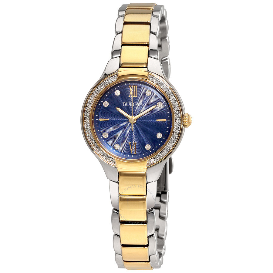 Bulova blue dial diamond ladies watch 98r223 diamond bulova watches jomashop for Diamond dial watch