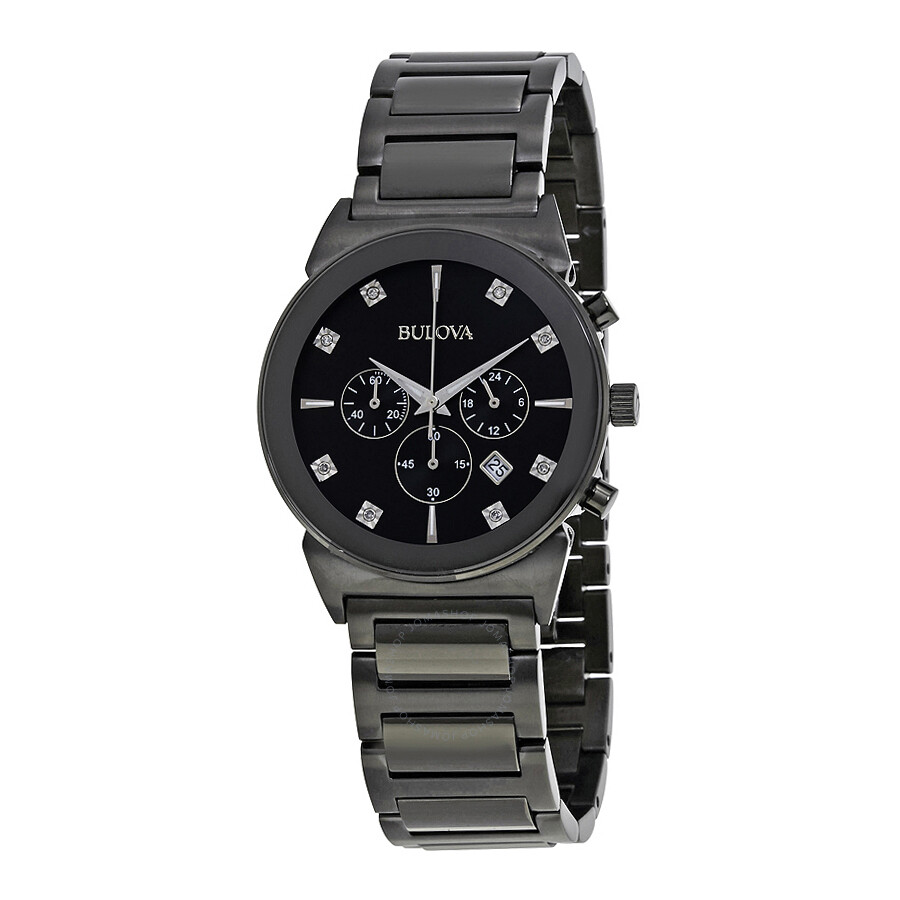 Bulova chronograph black dial diamond men 39 s watch 98d123 diamond bulova watches jomashop for Diamond dial watch