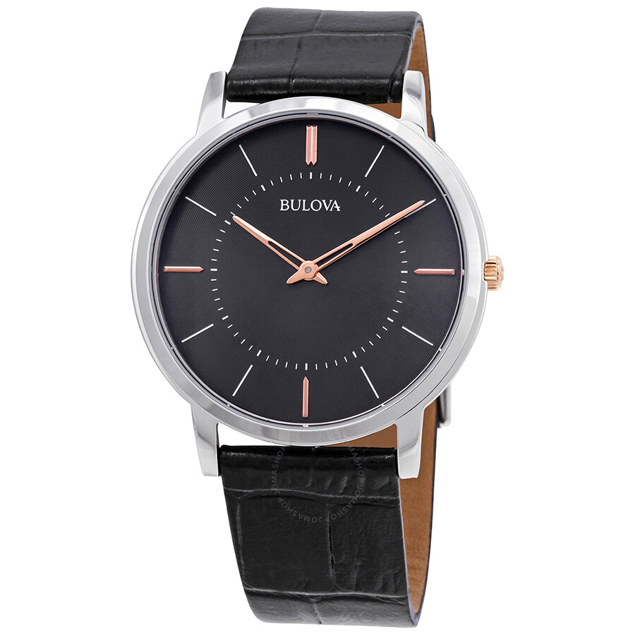 Bulova Classic Grey Dial Black Leather Mens Watch 98A167