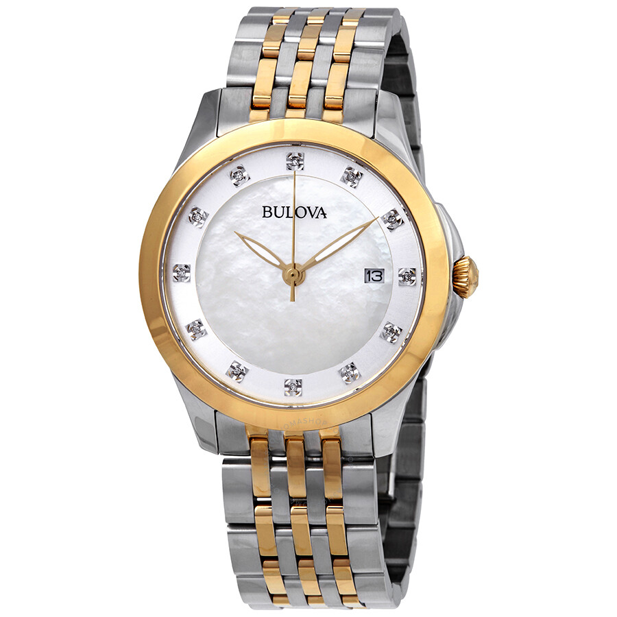 Bulova Classics Diamond White Mother of Pearl Dial Ladies Watch 98P161