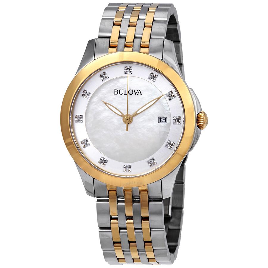 Bulova Classics Diamond White Mother of Pearl Dial Ladies Watch 98P161