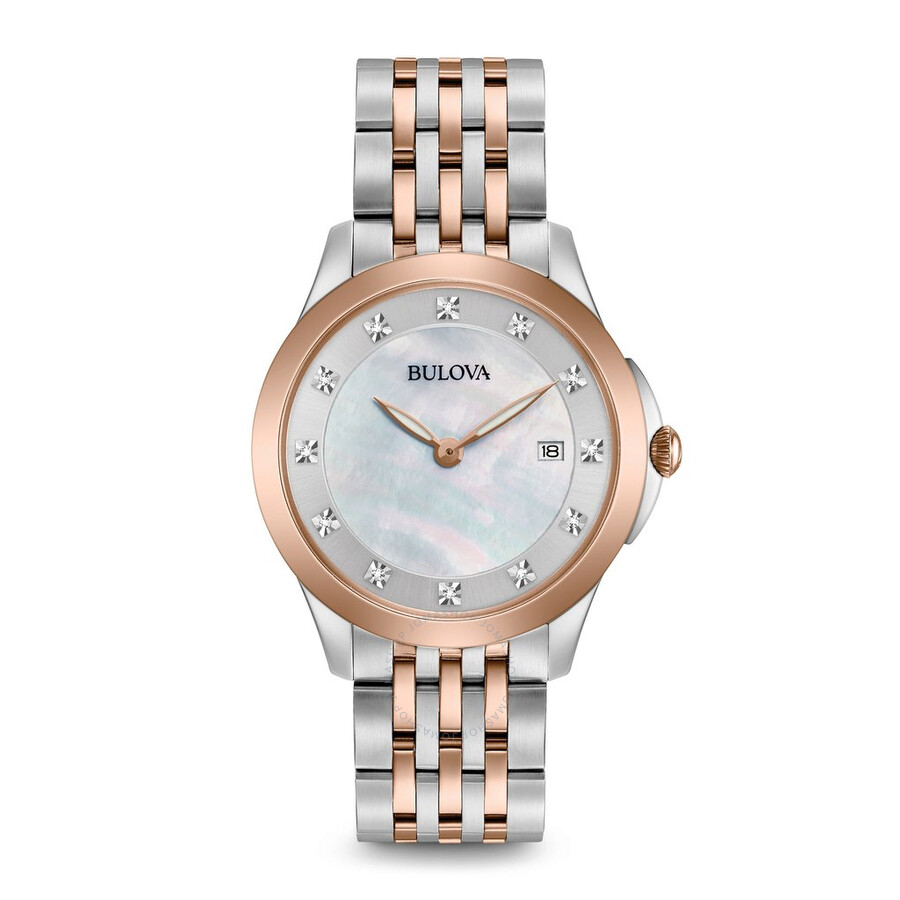 Bulova Classics Diamond White Mother of Pearl Dial Ladies Watch 98P162