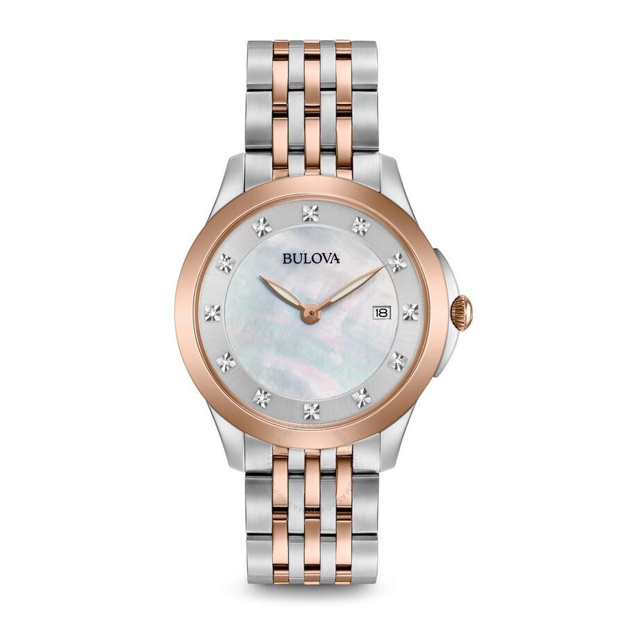 Bulova Classics Diamond White Mother of Pearl Dial Ladies Watch 98P162