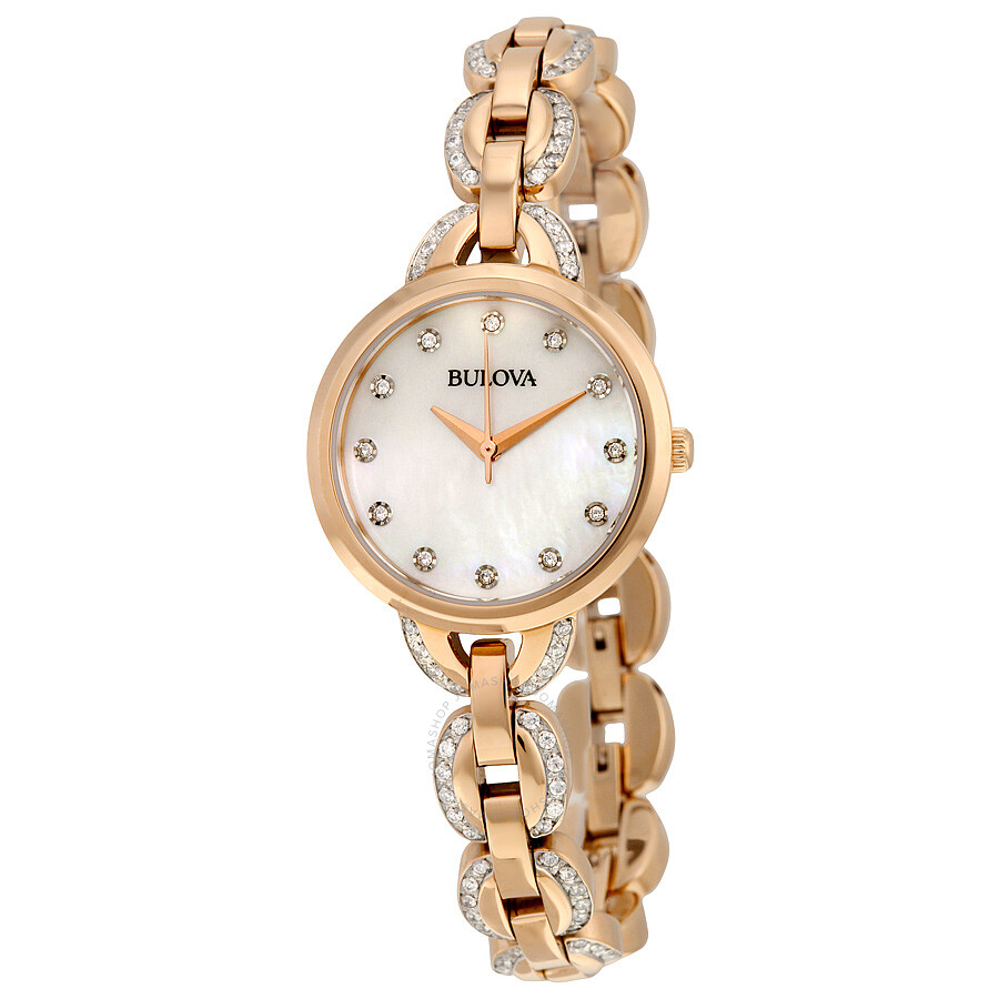 Bulova Crystal Mother of Pearl Dial Gold-tone Ladies Watch 98L207
