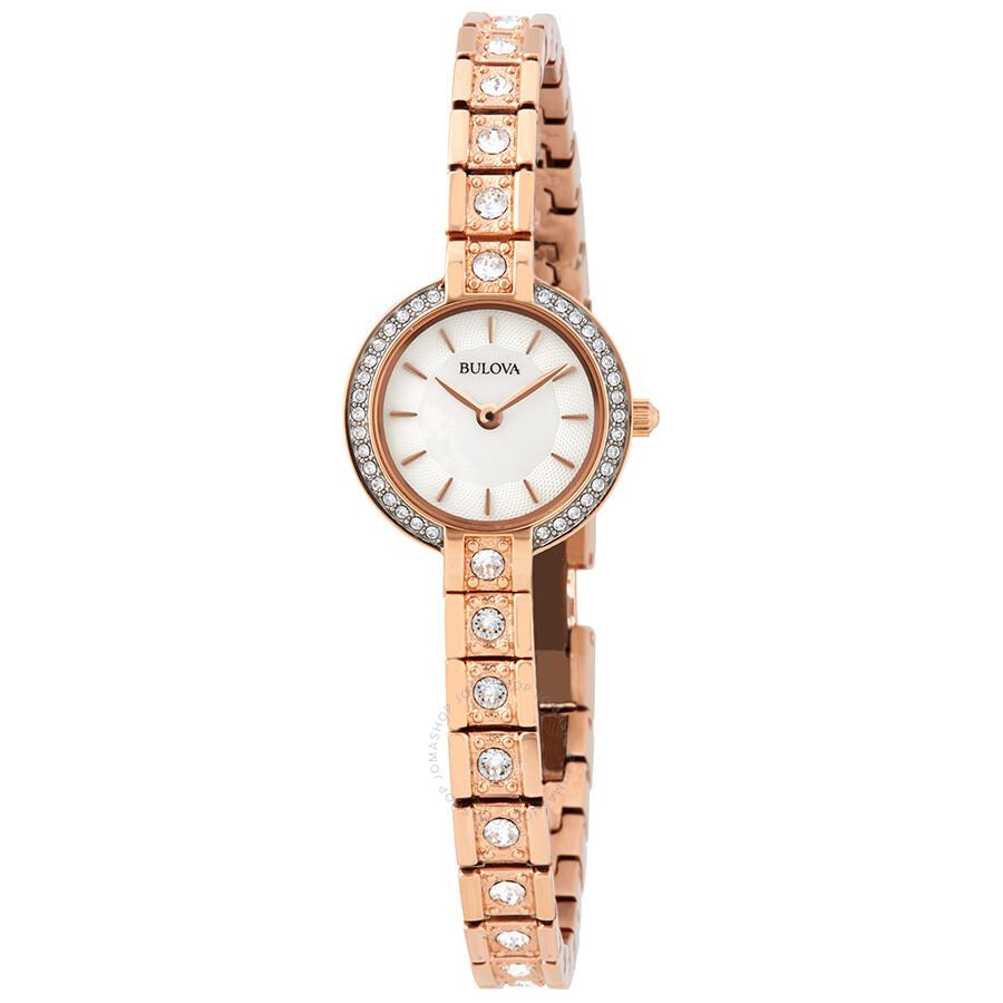 Bulova Crystal Mother of Pearl Dial Ladies Watch 98L215