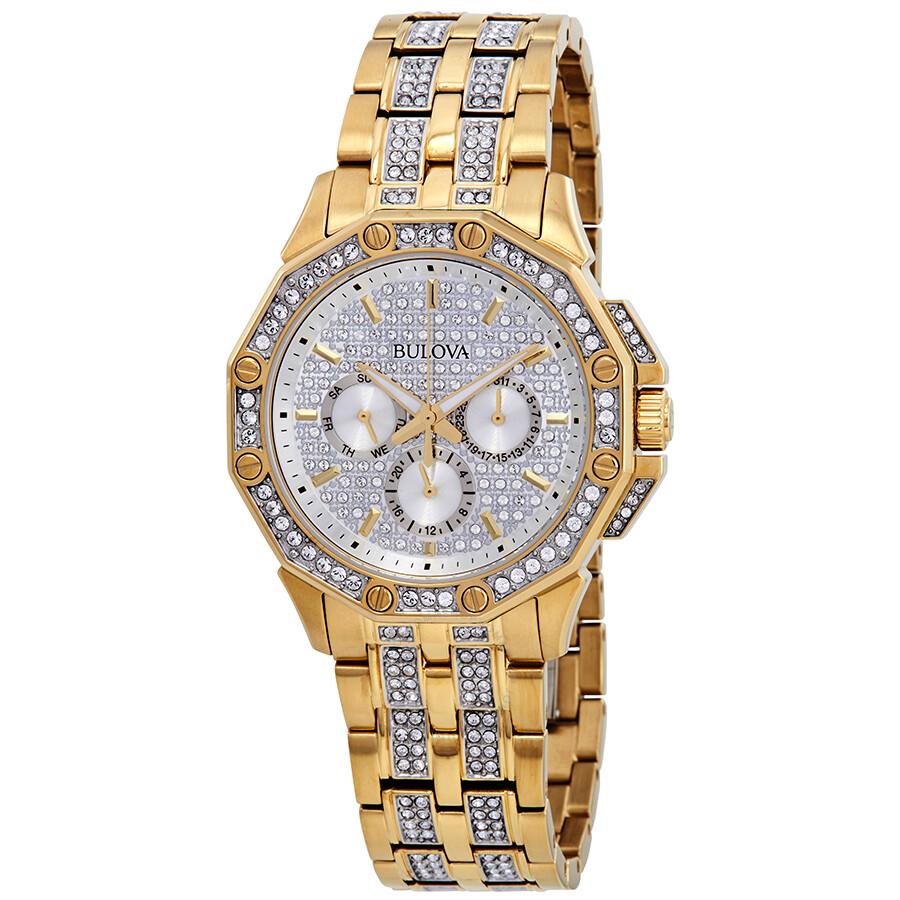 Bulova crystal silver dial men 39 s watch 98c126 crystal bulova watches jomashop for Crystal watches