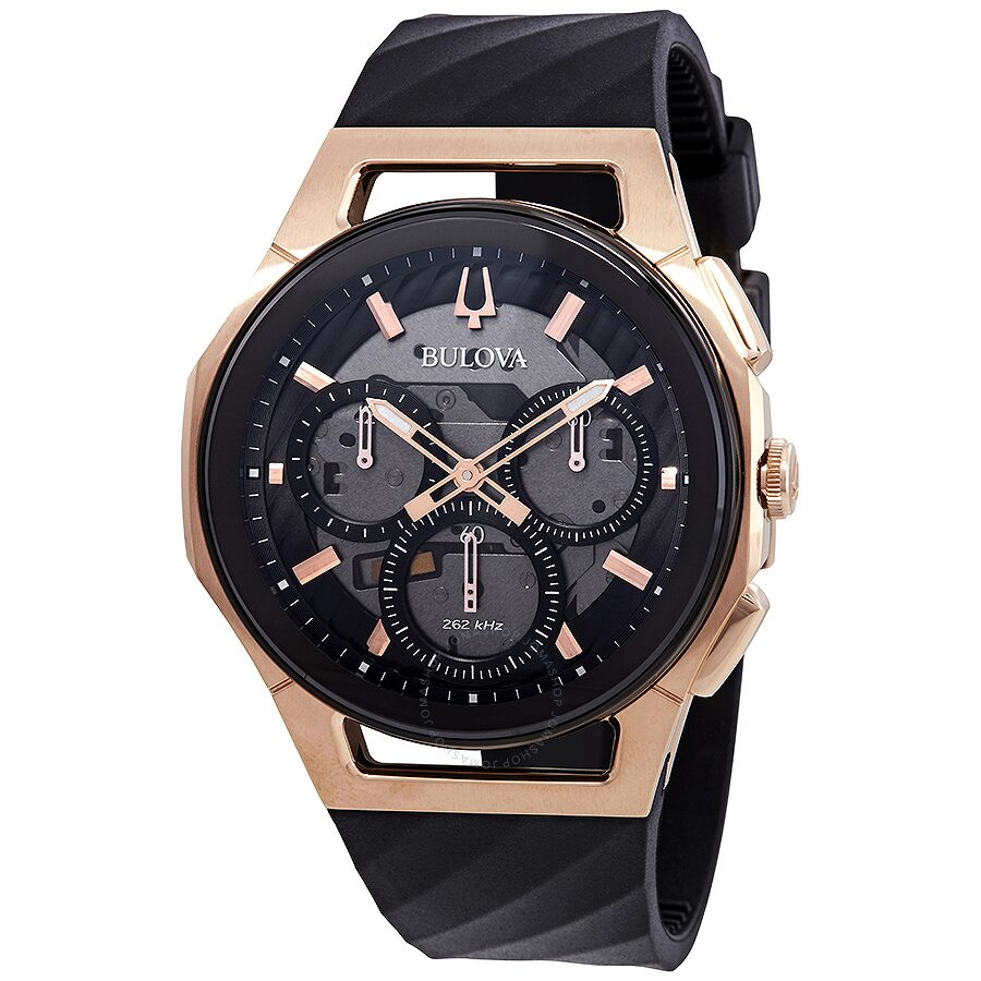 Bulova curv chronograph black dial men 39 s watch 98a185 curv bulova watches jomashop for Watches bulova