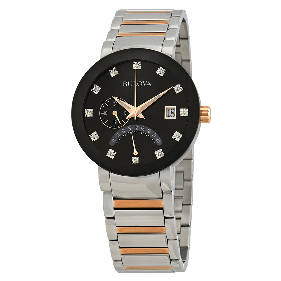 Bulova diamond black dial two tone men 39 s watch 98d129 diamond bulova watches jomashop for Diamond dial watch