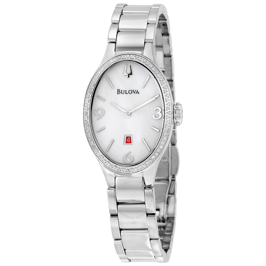 Bulova diamond white dial stainless steel ladies watch 96r192 diamond bulova watches for Diamond dial watch