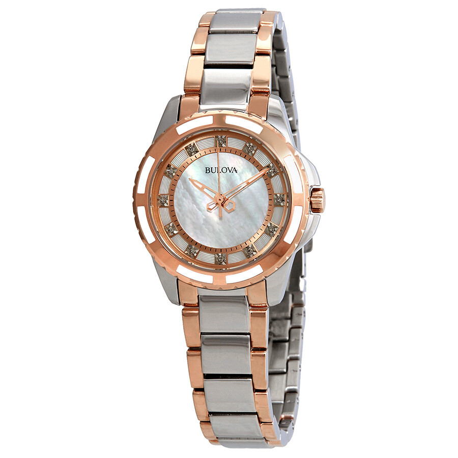 Bulova Diamond White Mother of Pearl Dial Ladies Watch 98P134