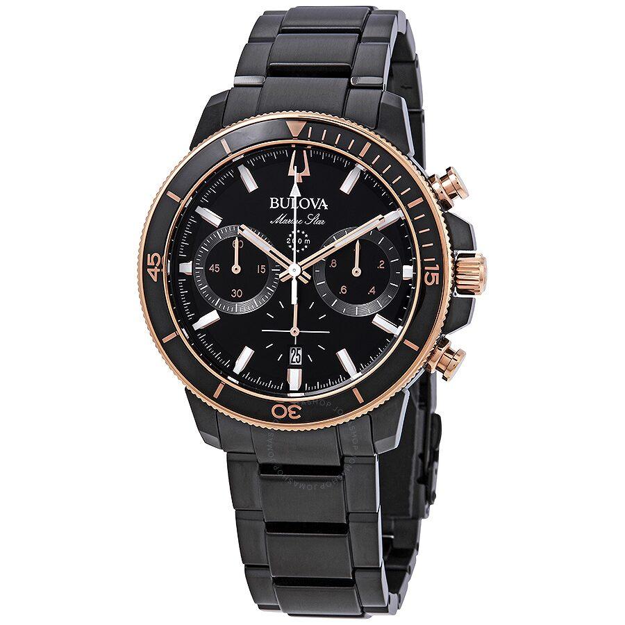 Bulova Marine Star Chronograph Black Dial Mens Watch 98B302