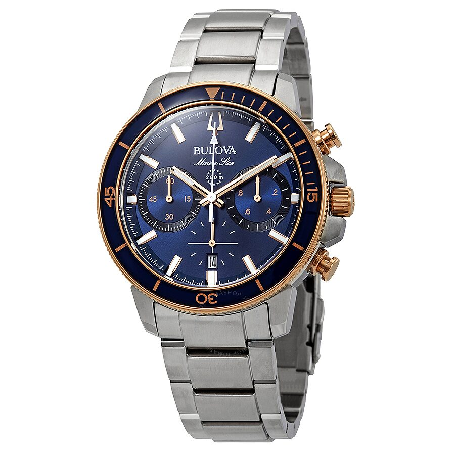 Bulova marine star chronograph blue dial men 39 s watch 98b301 marine star bulova watches for Watches bulova
