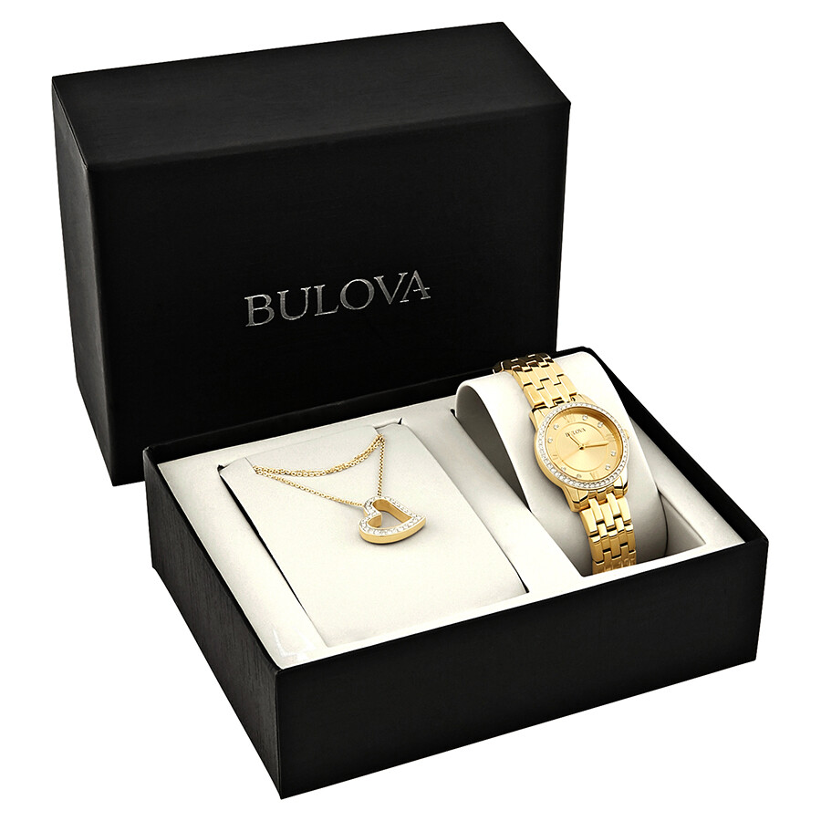 Bulova Swarvoski Crystals Gold Dial Ladies Watch 97X104