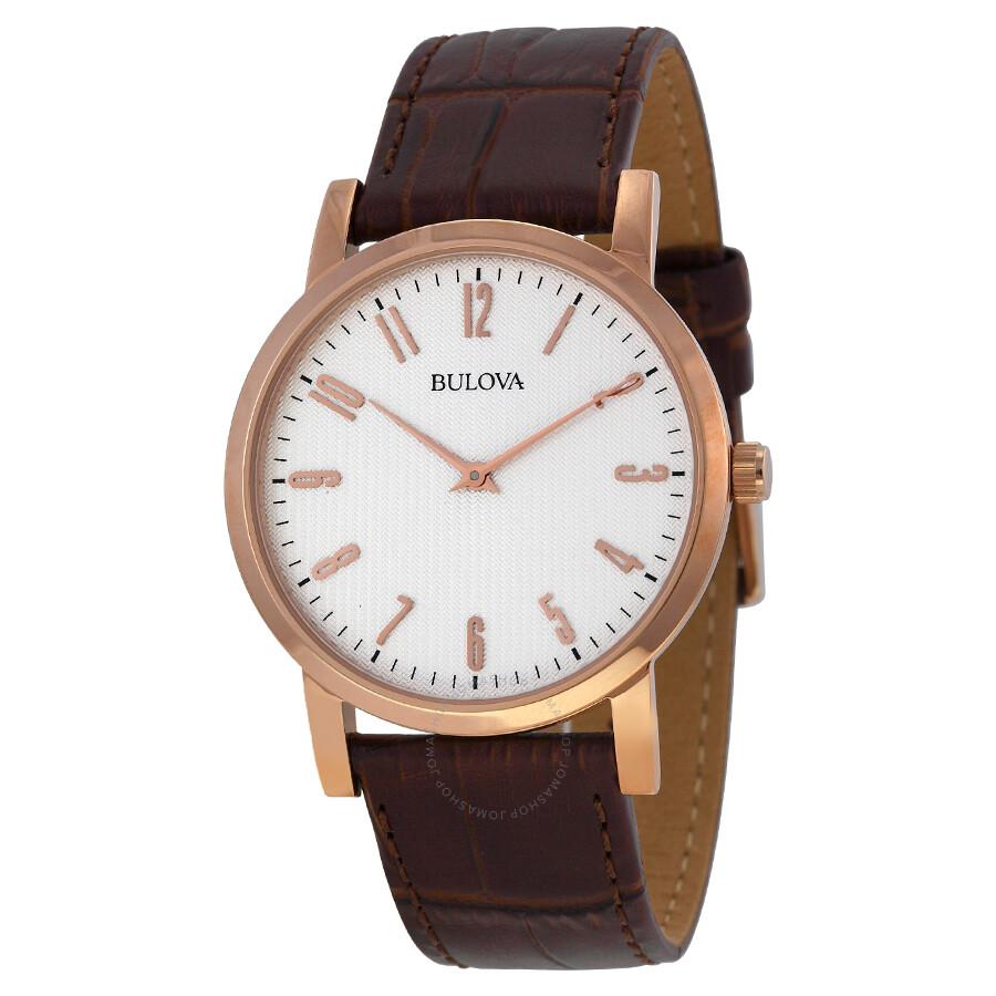 bulova white dial rose gold tone brown leather men 39 s watch. Black Bedroom Furniture Sets. Home Design Ideas