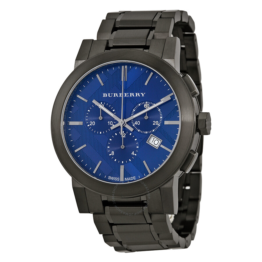 Burberry chronograph blue dial dark grey ion plated men 39 s watch bu9365 burberry watches for Burberry watches