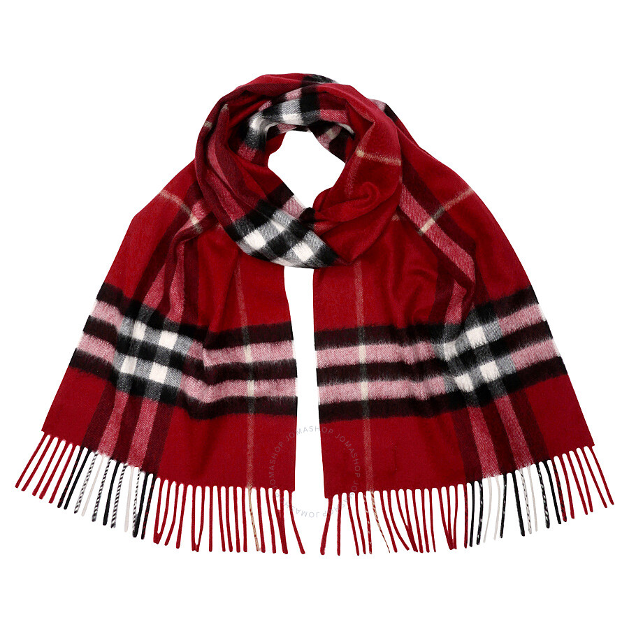 The Classic Check Cashmere Scarf - Red Burberry bfbhg8be
