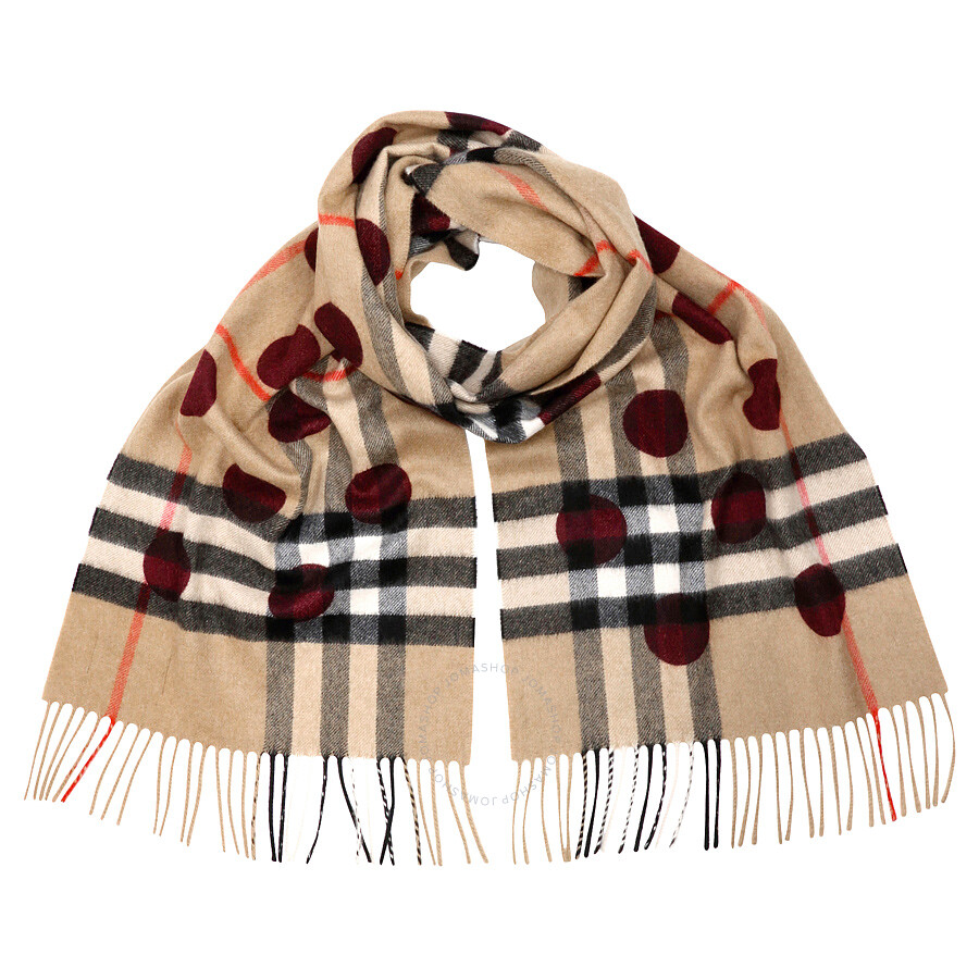 Burberry Classic Cashmere Scarf in Check and Dots - Plum