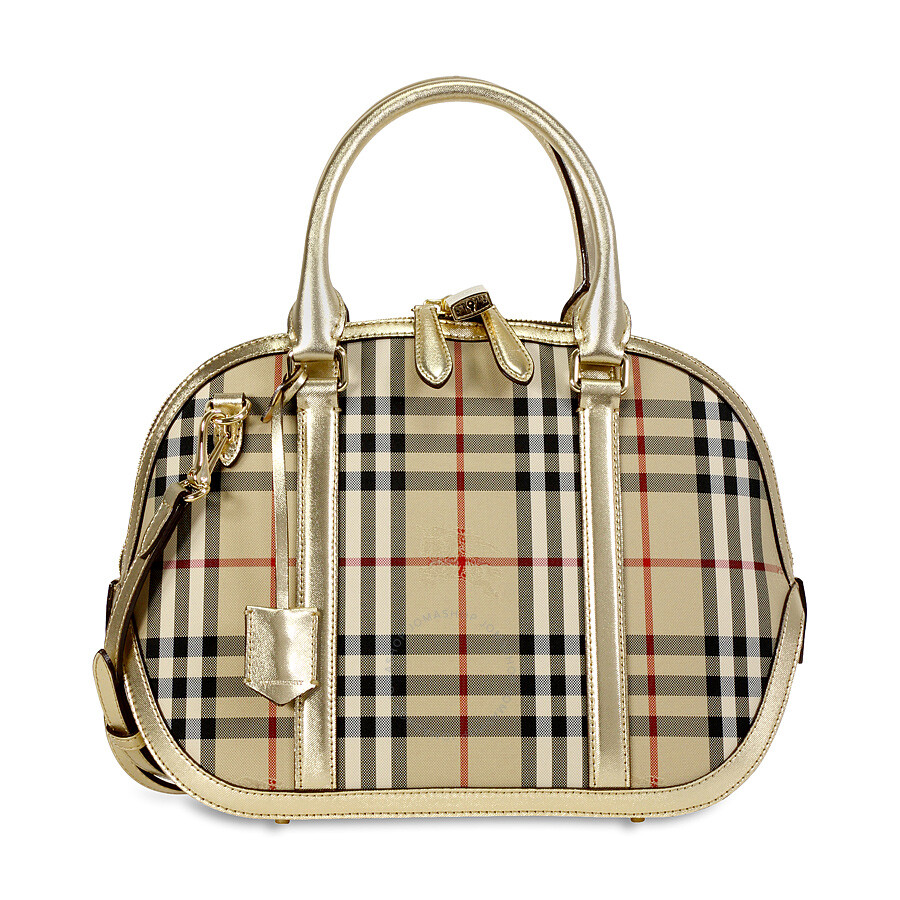 Burberry Horseferry Check and Leather Clutch - Honey/Gold at Jomashop.com & JomaDeals.com