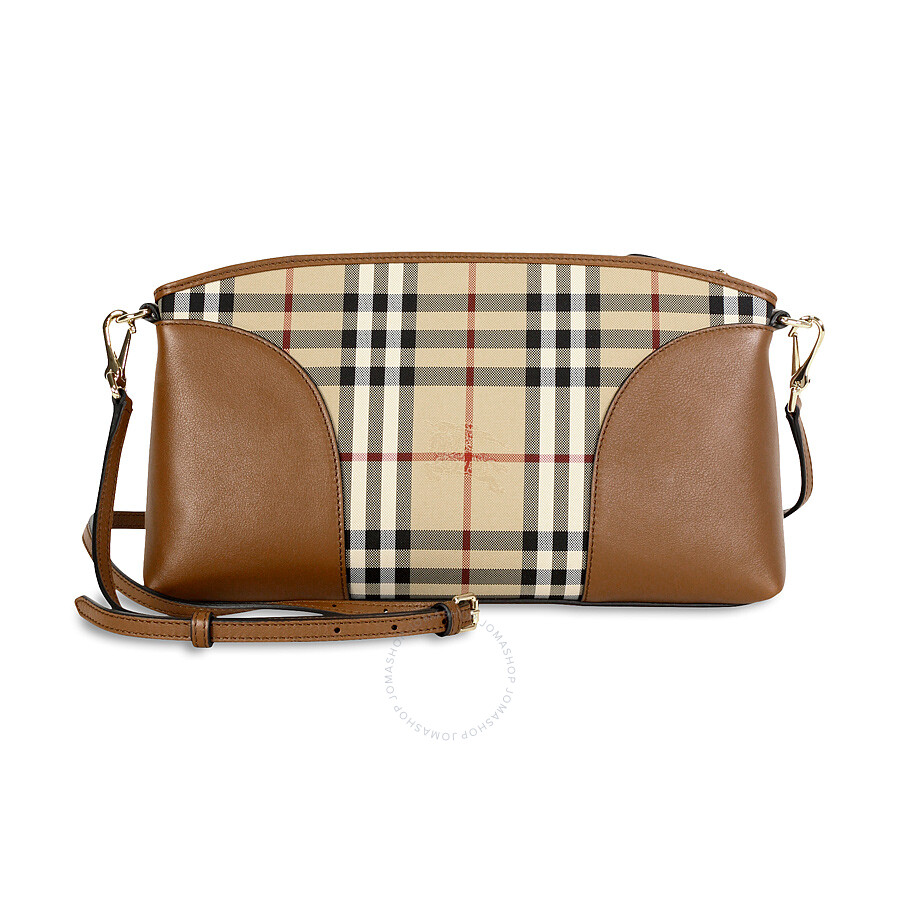 Burberry Horseferry Check and Leather Clutch - Honey/Tan at Jomashop.com & JomaDeals.com