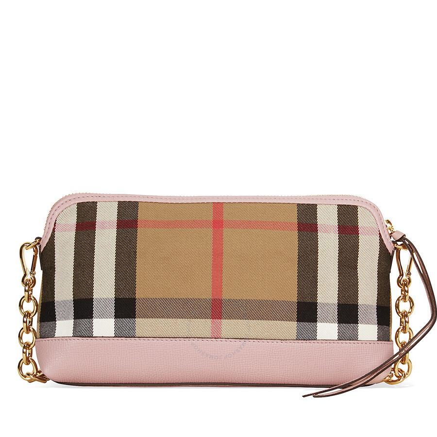 burberry female burberry house check and leather clutch pale orchid