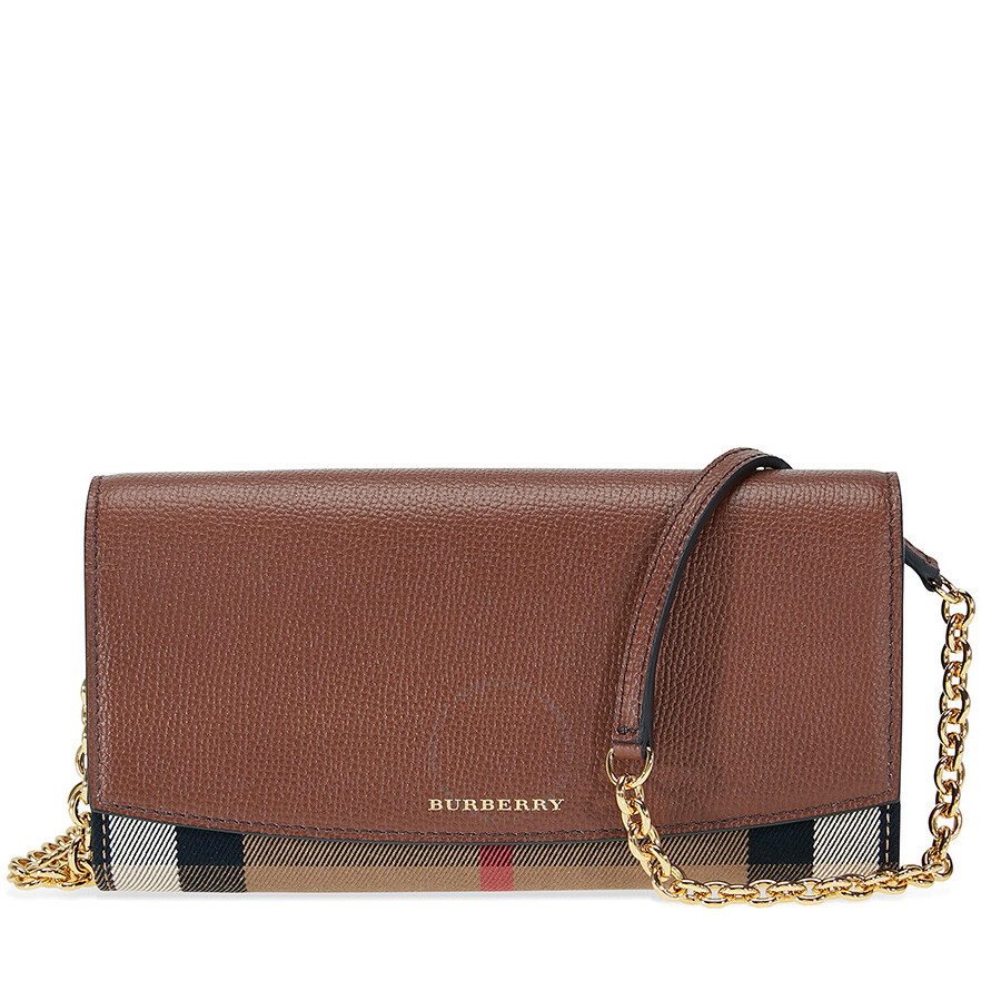 House Check and Leather Wallet - Brown Burberry EoBO6uLGT3