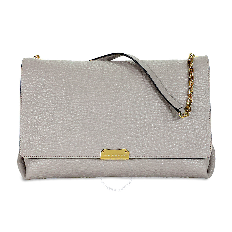 Burberry Large Signature Grain Leather Shoulder Bag - Pearl Grey
