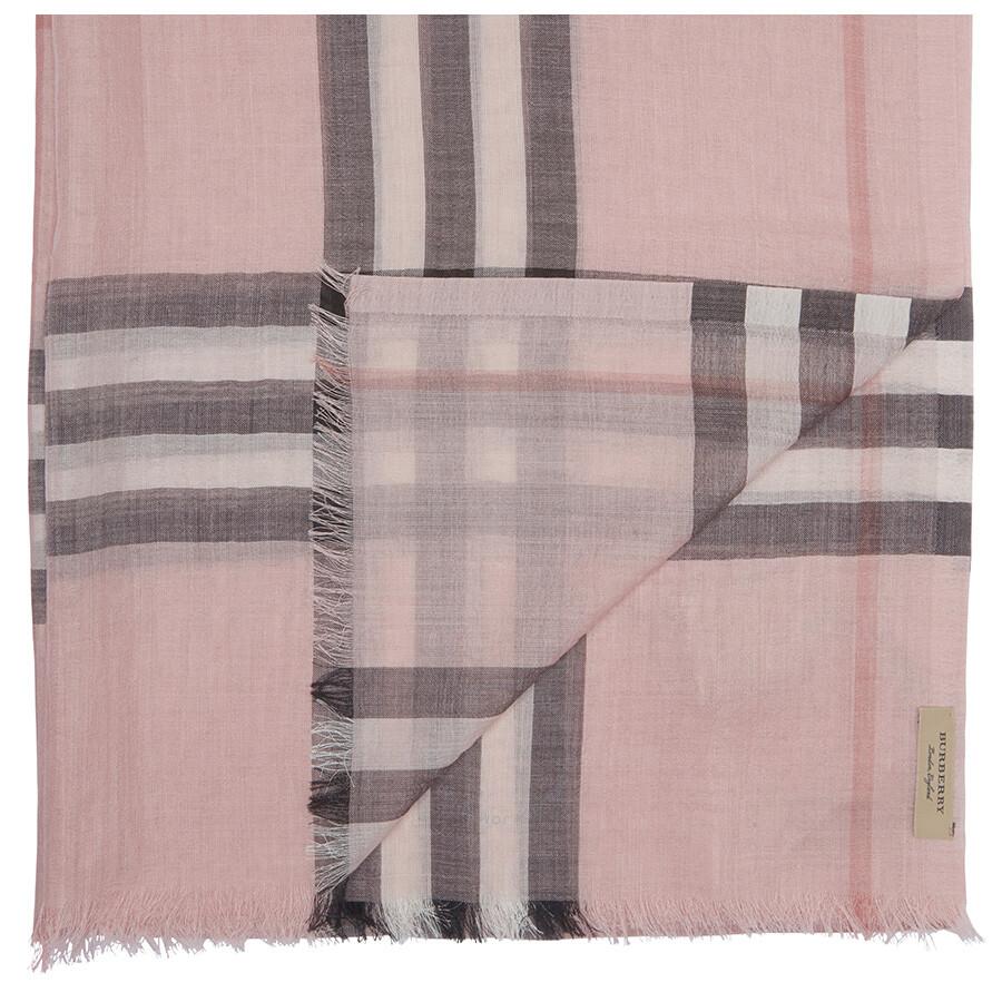 Lightweight Check Wool and Silk Scarf - Grey Burberry hLrxXR08