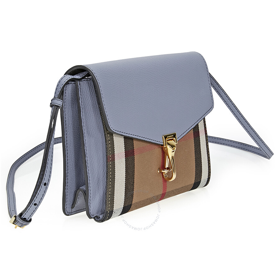 check small. Burberry Small Leather House Check Crossbody Bag- Slate Blue E