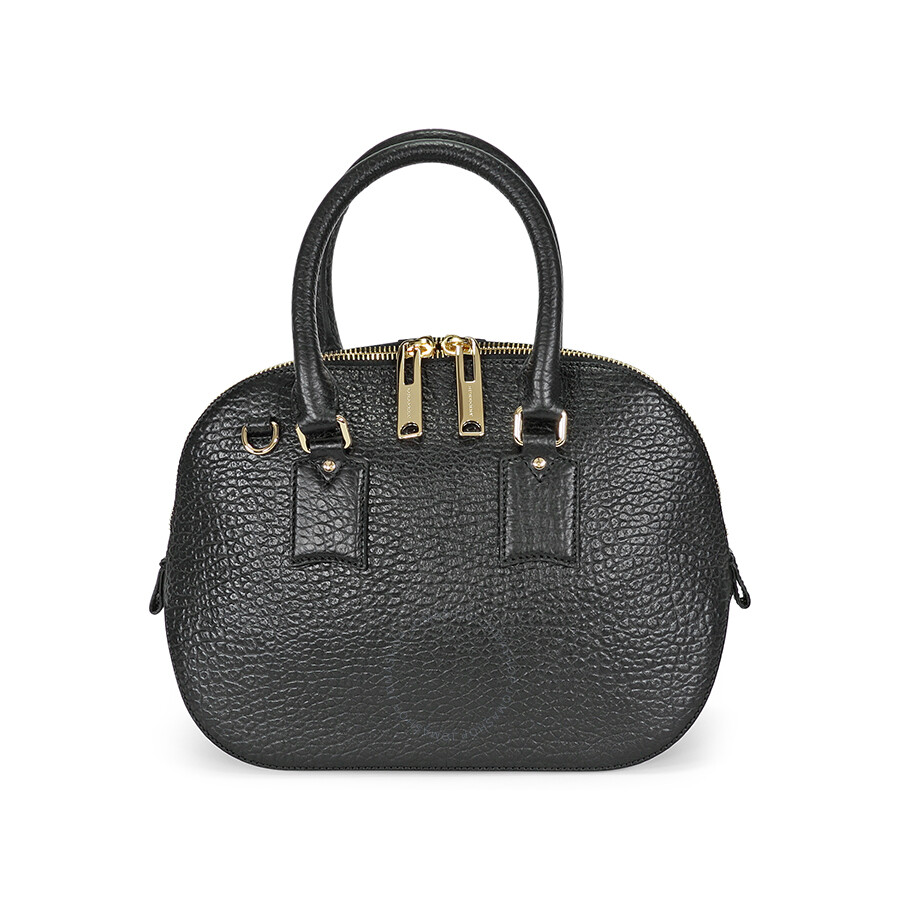 Burberry Small Orchard Leather Bowling Bag Black