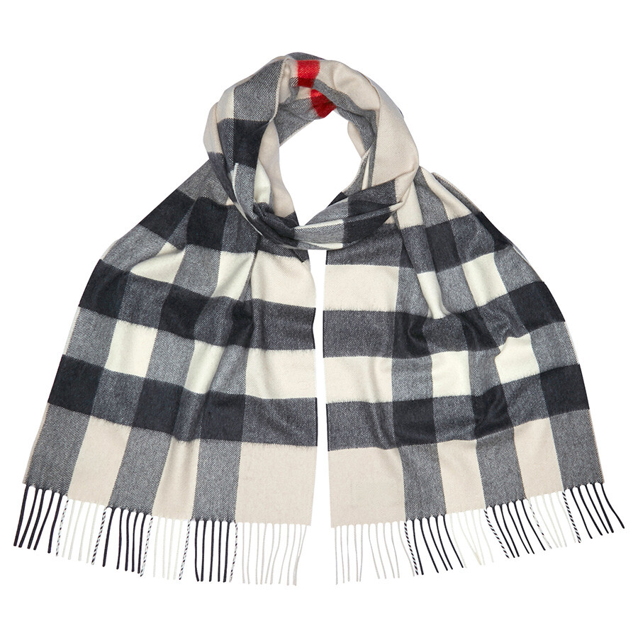 The Large Classic Cashmere Scarf in Check - White Burberry k52Ubh